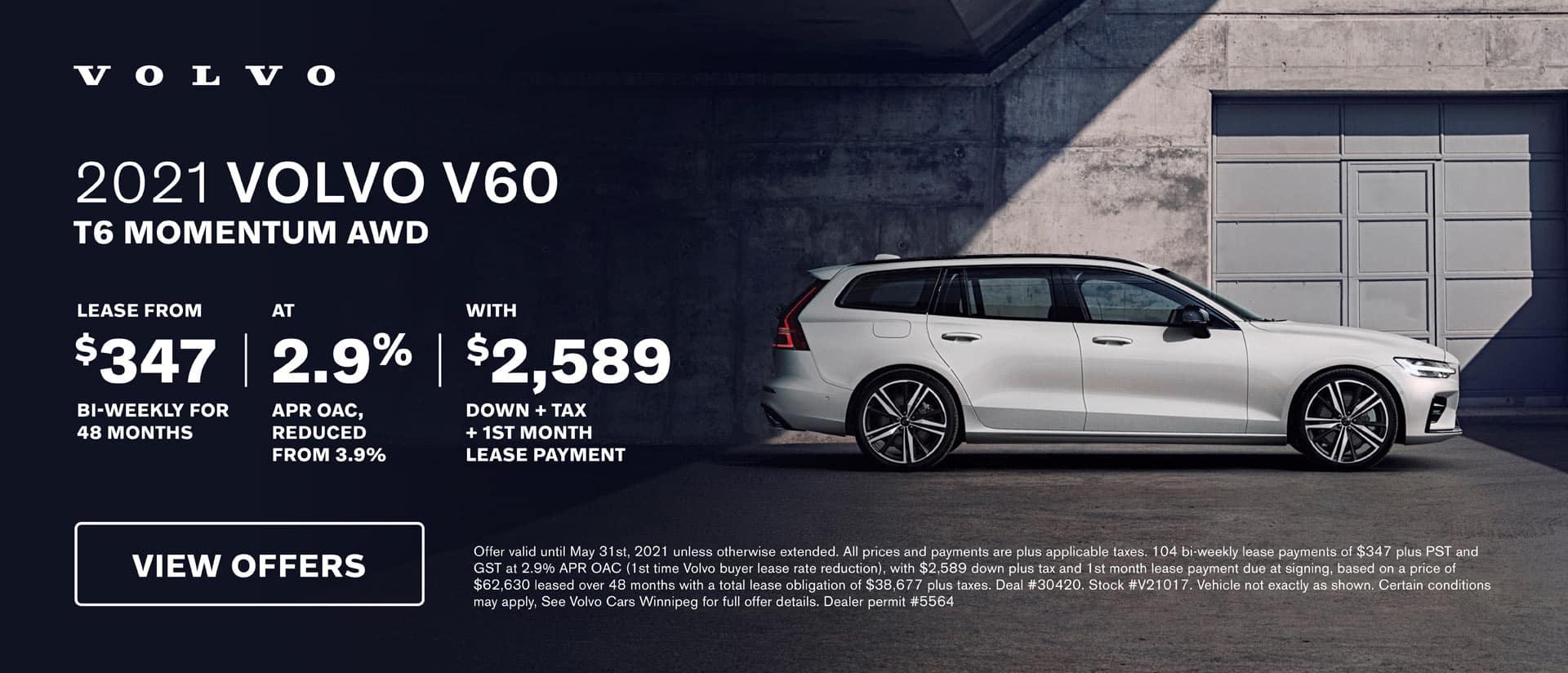 Volvo Cars Winnipeg May V60 Offer