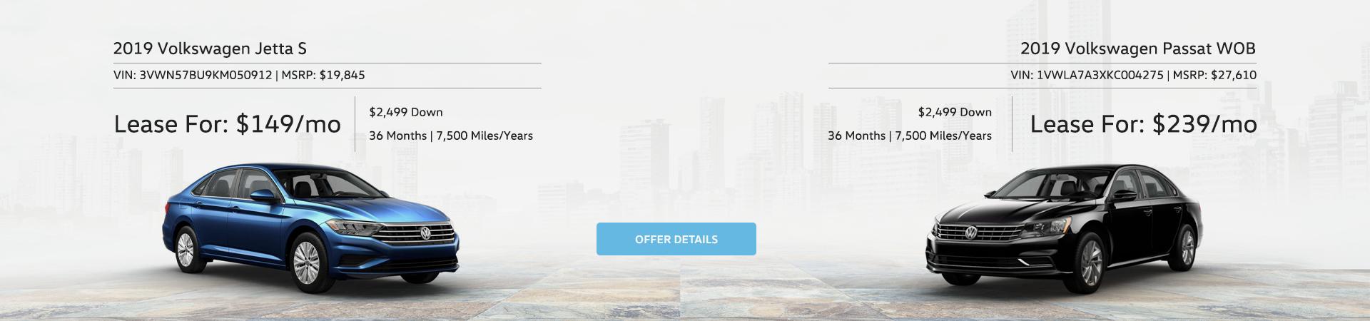 Volkswagen Jetta and Passat Special Offers