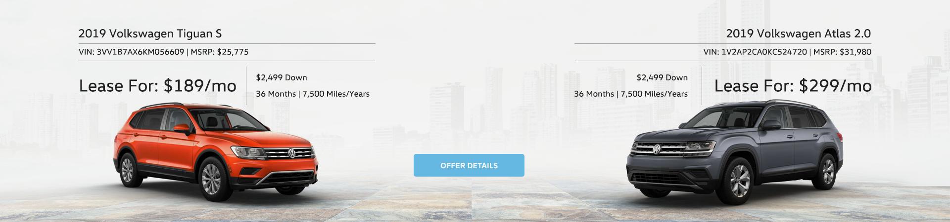 Volkswagen Tiguan and Atlas Special Offers