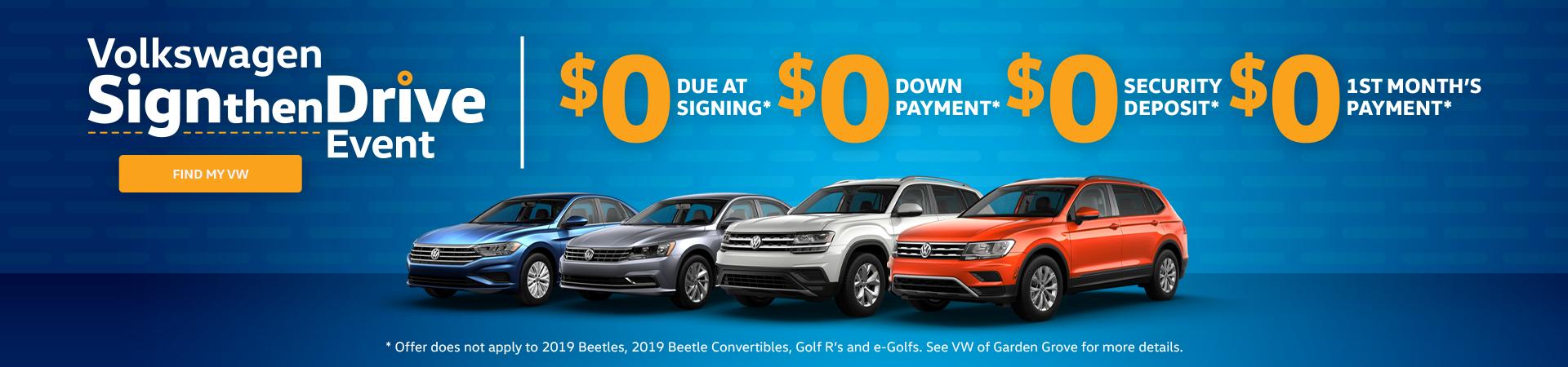 Volkswagen Sign then Drive Sale Event Garden Grove, CA