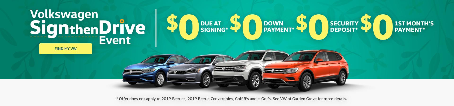 Volkswagen Sign then Drive Sale Orange County, CA