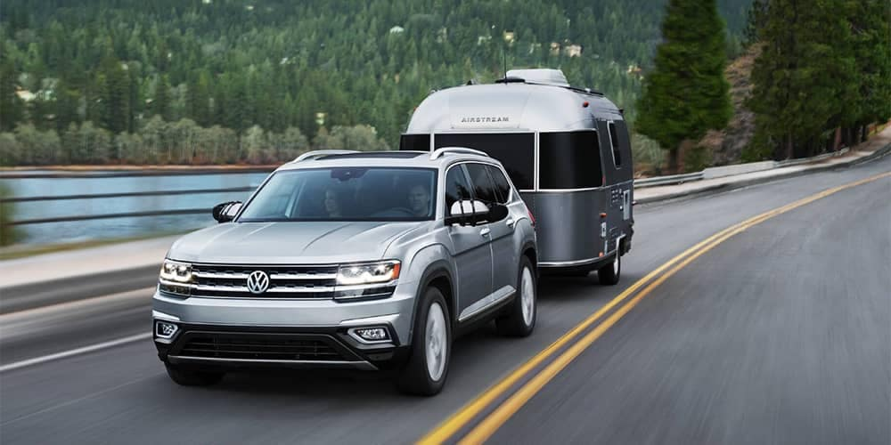 2019 Volkswagen Atlas Towing a Small Camper