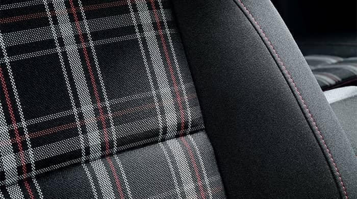 Closeup of VW Golf GTI Plaid Seats