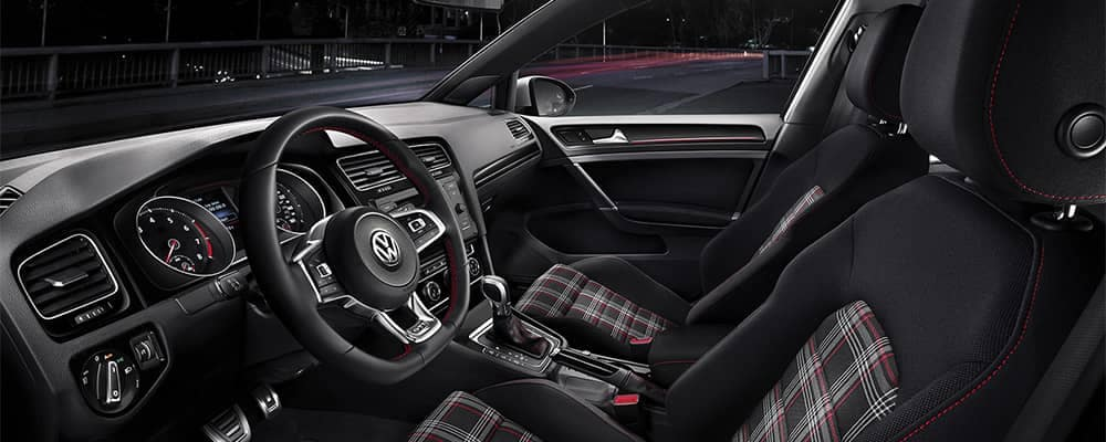 VW Golf GTI Front Interior with Plaid Seats