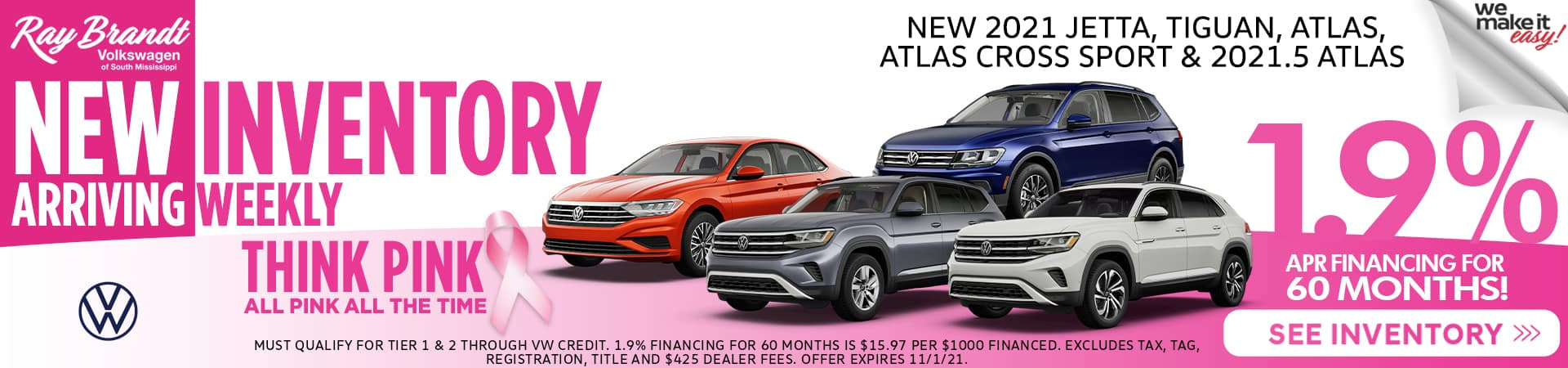 1.9% APR financing for 60 months at Volkswagen of South Mississippi