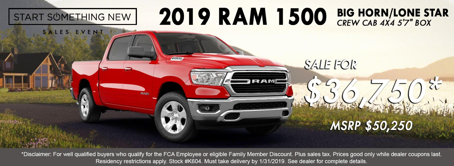 2019 Ram 1500 Big Horn Crew Cab 4X4, Flame Red, K604, MSRP $50,250, Sale Price $36,750*