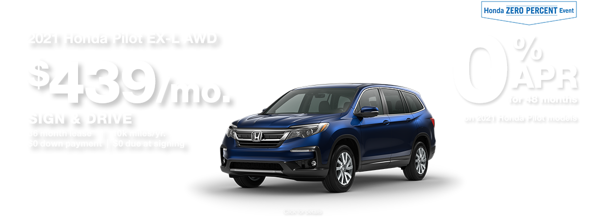 2021 Honda Pilot SUV Sign and Drive Lease Special