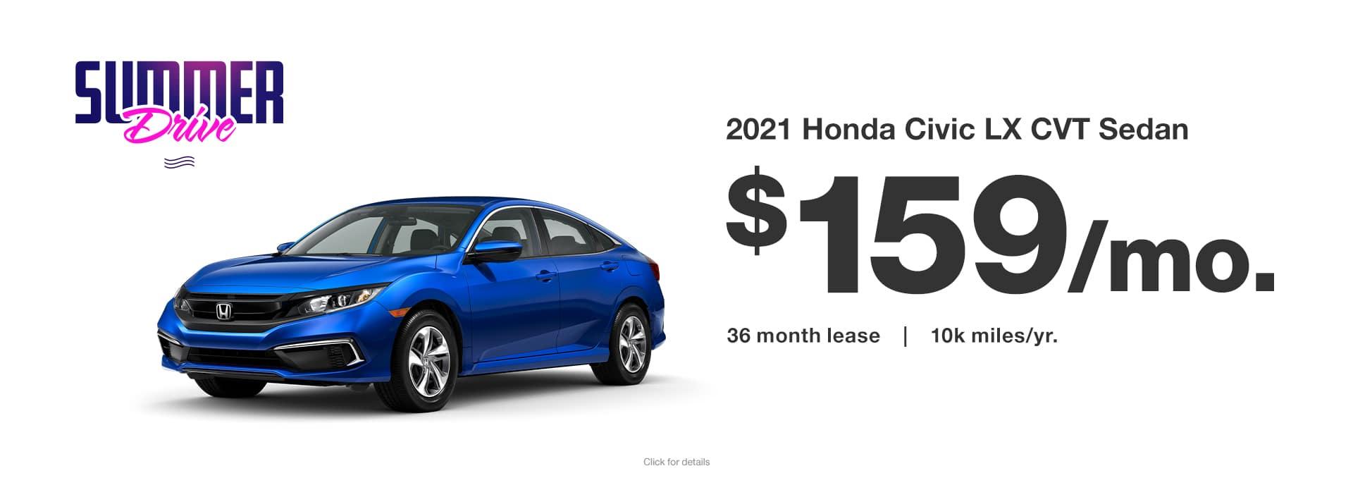 2021 Honda Civic Lease Specials