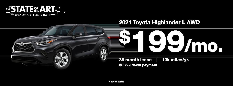 2021 Toyota Highlander January 2021 Lease Special at Walser Toyota near Eden Prairie, MN