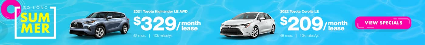 Highlander and Corolla Lease Special