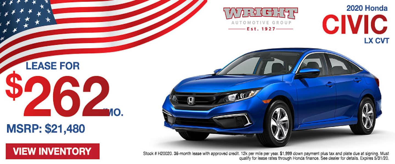Memorial Day savings on the 2020 Honda Civic at Wright Honda