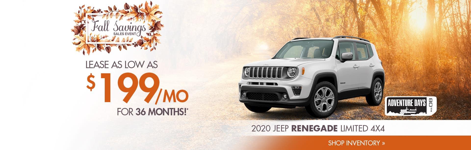Big Savings on a New Jeep Renegade near Rockville, Indiana